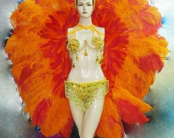 Showgirl Burlesque Orange Samba Headdress Backpack Costume Set