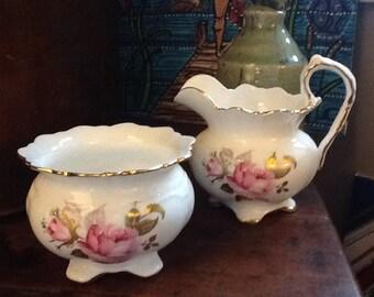 Vintage Aynsley Bone China Creamer Jug and Sugar Bowl in Pink Rose Pattern Regal Footed