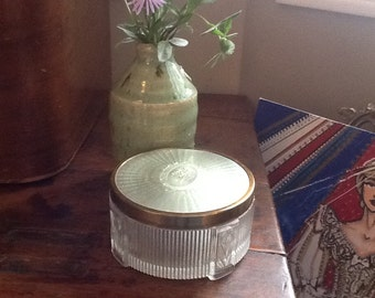 Beautiful Vintage Powder Jar with Gold Metal Lid and Glass Base with Tulips