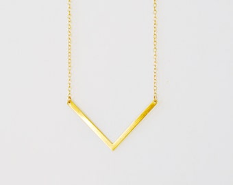 Thin Gold Large Chevron Necklace, Chevron Bar Necklace, Gold V Necklace, Chevron Pendant, Gold Bar Necklace