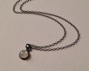 Tiny Moonstone Necklace in Oxidized Sterling Silver