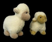 Plush Sheep, Vintage Toys, Set of Two