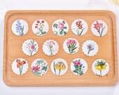 Round Shape Paper Deco Seal Set - Different Kinds of Flower - 40 Pcs