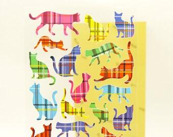 Deco Translucent Sticker - Tartan Cats - 1 sheet