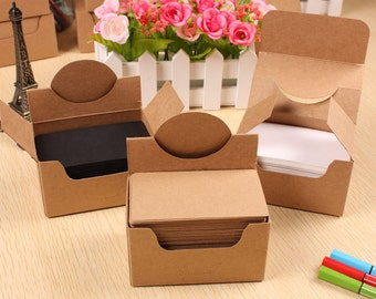 Blank DIY Card Box Set - White, Black, Kraft Paper Cardboard for Choice -100 sheets