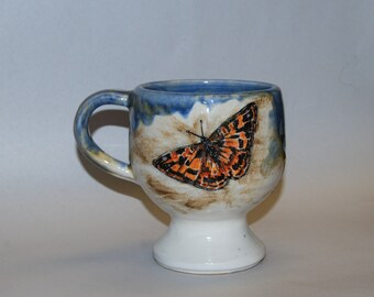 Handmade Stoneware Mug with Butterfly Painting