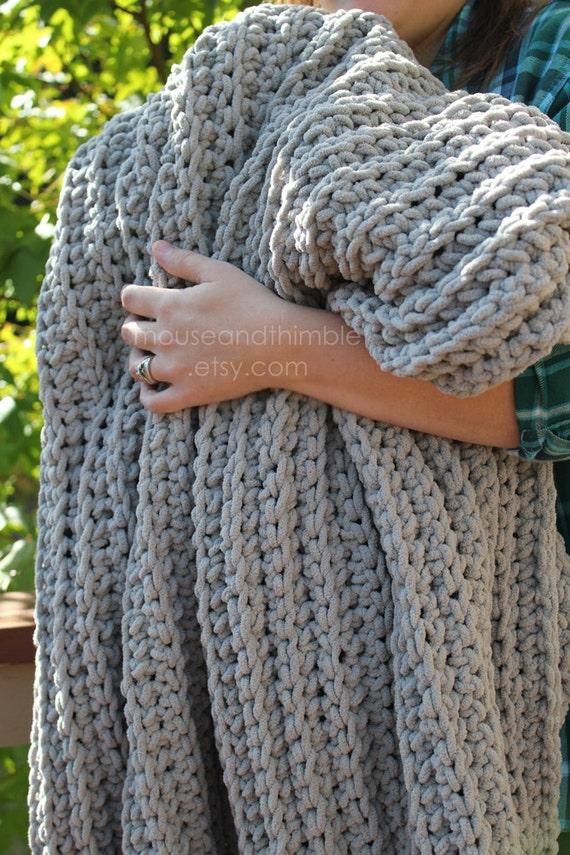 Bulky Blanket Chenille Fisherman Throw Easy Crochet