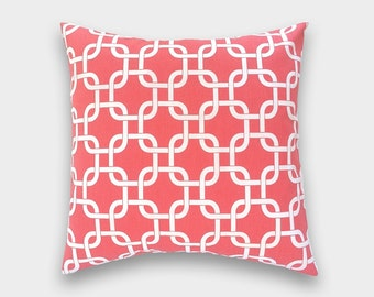 CLEARANCE 50% OFF. Decorative Pillow Cover. Coral Chain Link. 18 X 18 Inch. Accent Pillow. Cushion Covers