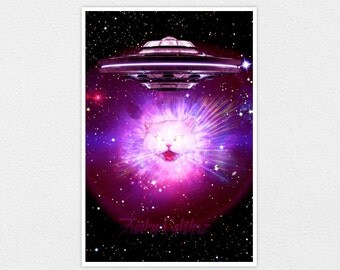 The Big Bang - Space Cat Print 8x10 Laser Cats Cosmos Galaxy Sci-fi UFO Alien