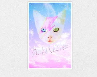 David Meowie - Space Cat Kawaii 8x10 Print Pastel Galaxy David Bowie
