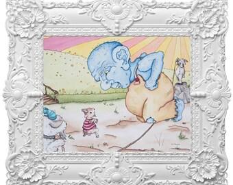 3 Billy goats Gruff Fairytale Themed Nursery | Jump rope | watercolor painting | digital | Fairytales | Nursery Decor | Blue Troll |