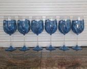 Diamonds and Denim hand painted wine glasses