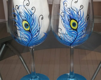 Peacock feather hand painted wine glasses