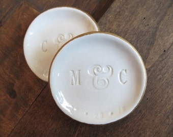 Monogram ring dishes with Date, Couples Gift, wedding gift,  Set of 2  White and Gold,  Gift Boxed, Made to Order