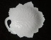 Vintage Fenton Milk Glass Leaf Plate - Serving Platter or Plate with Stand