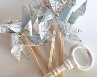 Pinwheels, ASSEMBLED, you choose qty, Cupcake Topper, Baby Shower, Pinwheel Cupcake, Map Pinwheels, Vintage Wedding, Pinwheels, Travel Theme