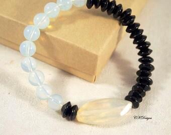 SALE Black and White Beaded Bracelet, Stack-able bracelet, Statement Bracelet,  Beaded Stretchy Bracelet Gift for Her OOAK Handmade Bracelet