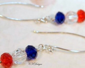 Patriotic Earrings. Swarovski Crystals Red, Blue Faceted Beaded Pierced Earrings. CKDesigns.us