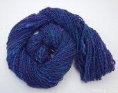 "Handspun Textured Yarn-  Purple, DK weight, 99m, 42g, Merino, Jacob, Silk Noil, ""Projection"""