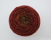 """Handspun Gradient Yarn- Red to Yellow, 126m, 68g, Worsted Weight, Merino, Shetland, Silk, """"Pumpkin Patch"""""""