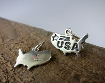 USA CHARM, Sterling Silver 13x16mm and Jumpring, 1 Charm, Ready to Ship!