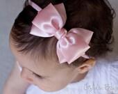 Baby Soft Pink Emma Bow Clip OR Headband - Flower Girl Headband - Baby Satin Bow - Girls Satin Bow - Bun Hair Bow - Baby to Adult Headband