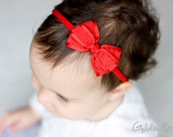 Christmas Red Baby Bow - Red Textured Bow Baby Handmade Headband - Fits from babies to Adults
