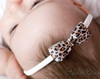 Leopard Print Olivia Baby Bow Headband - Girls Headband - Leopard Print Olivia Satin Bow Handmade Headband - Baby to Adult Headband