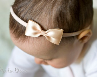 Peach Baby Headbands Bows - Flower Girl Headband - Small Satin Peach Bow Handmade Headband - Infant to Adult Headband