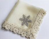 Snowflake Wedding Hanky, Winter Wedding Bride/Mother of Bride Gift/Mother of Groom Gift Silk Handkerchief, Bridal Shower Gift