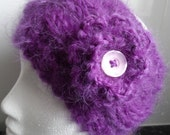 Hand knitted Purple Chunky Mohair Earwarmer or Headband with Detachable Flower