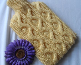Hand knitted maize yellow hot water bottle cover/cozy/cosy