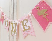 "Bithday Banner ""ONE"" ~ Smash Cake Photo Prop ~ Flamingo Birthday Decoration ~ Pink & Gold Chic Decor"