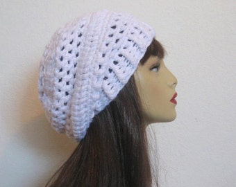 Slouchy Crochet Hat White Slouch Beanie Crochet Slouch Tam White Slouchy Hat White Crochet Tam White Beanie Crochet slouch knit beanie