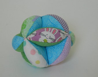 Clutch Grab Ball - Handmade Toy - Baby Shower Gift - Baby's First Birthday - Amish Puzzle Ball - Infant Toy - Sectioned Grab Ball - Pastel