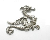 Medieval Style Dragon Stamping Antiqued Silver One Piece