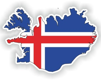 Iceland Map Flag Silhouette Sticker for Laptop Book Fridge Guitar Motorcycle Helmet ToolBox Door PC Boat