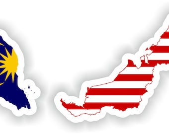 Malaysia Map Flag Silhouette Sticker for Laptop Book Fridge Guitar Motorcycle Helmet ToolBox Door PC Boat