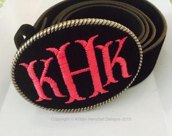 Kristin Henchel custom monogram belt buckle - black fabric with hot pink monogram