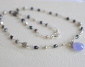 Gray Gemstone Necklace, Lilac Chalcedony Necklace, Mixed Gemstone, Purple Gray Necklace, Sterling Silver Necklace, Beaded Chain, Labradorite