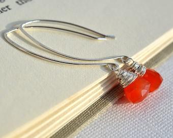 Carnelian Earrings, Bright Orange Earrings, Orange Gemstone Earrings, Sterling Earrings, Long Earrings, Fall Earrings, Pumpkin Orange Autumn