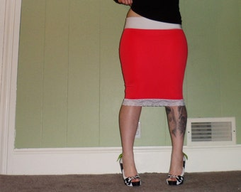 Coral Affair - A Solid Color Pencil Skirt