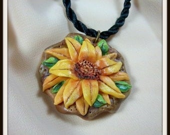 Sunflower Pendant, Cold Porcelin, Sunny Yellow, Fall Floral, Favorite Flower, Vibrant