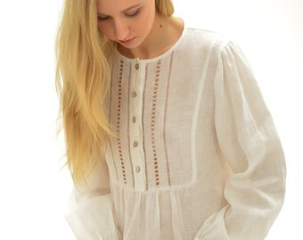 Vintage Inspired Handstitched Longsleeve Linen Gown For Woman