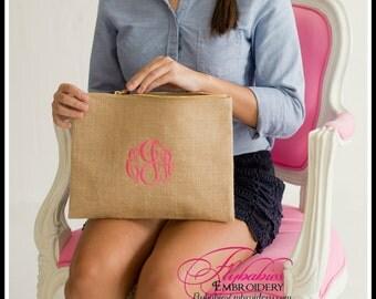 Personalized Burlap Zipper Pouch ~ Monogrammed Burlap Toiletry Bag ~ Personalized Burlap Cosmetic Bag ~ Burlap Clutch ~FREE Personalization