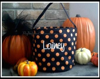 SALE - 25% off - Personalized Halloween Bucket / Personalized Halloween Bag
