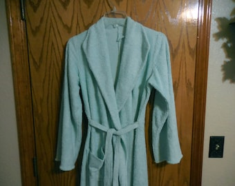 Vintage Hollywood Glam Chenille ROBE - Aqua Lines with Aqua and Teal Flower and Scroll Designs - Vintage Chenille BATHROBE - Free Shipping