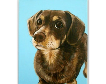 "Custom Dog Portrait/ Custom Pet Portrait / Custom Portraits (8x10x0.75"") 1 Pet Close-Up Solid background Painting Memorial Dachshund Canvas"