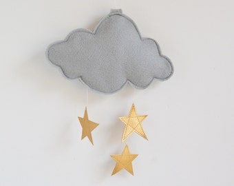 Cloud and Stars Baby Crib Mobile - Gray and Gold