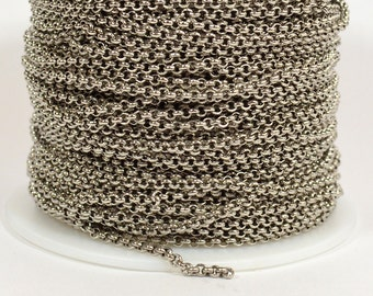 2.5mm Rolo Chain - Antique Silver - Made in the USA - CHG10-AS - Choose Your Length